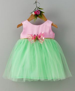 Many Frocks & Sequins Bow Sleeveless Dress- Pink & Green