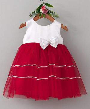 Many Frocks & Double Bow Sleeveless Dress - White & Red