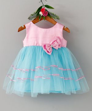 Many Frocks & Double Bow Sleeveless Dress - Pink & Blue
