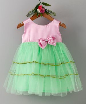 Many Frocks & Double Bow Sleeveless Dress - Pink & Green