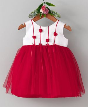 Many Frocks & Rose Sleeveless Dress - White & Red