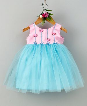 Many Frocks & Rose Sleeveless Dress - Pink & Blue