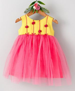 Many Frocks & Rose Sleeveless Dress - Yellow & Dark Pink
