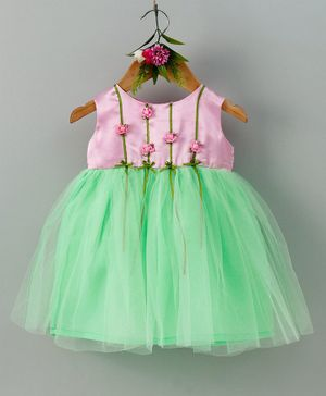 Many Frocks & Rose Sleeveless Dress - Pink & Green