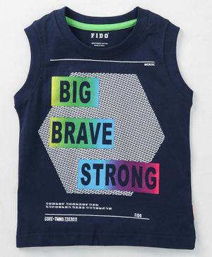 Fido Sleeveless Tee Strong Print - Navy