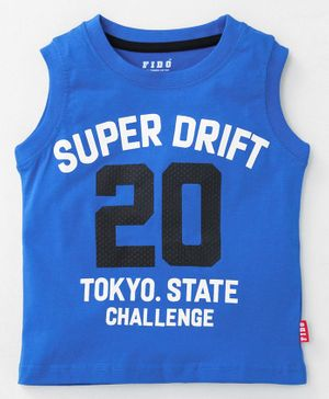 Fido Sleeveless Tee Super Drift Print - Royal Blue