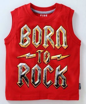 Fido Sleeveless Tee Rock Print - Red