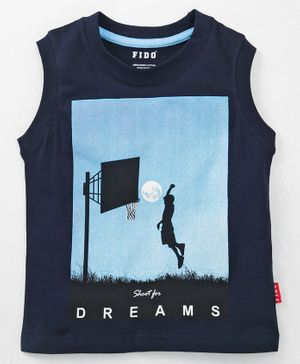 Fido Sleeveless Tee Dreams Print - Navy