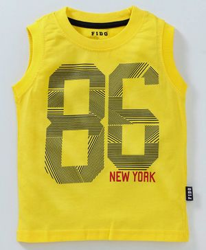 Fido Sleeveless Tee Strong Print - Yellow