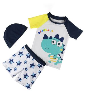 Awabox Dinosaur Print Half Sleeves Tee & Swim Shorts Set With Cap - White & Blue