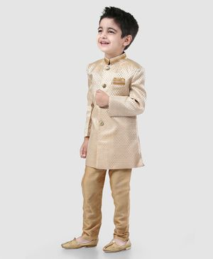 Babyhug Full Sleeves Sherwani & Pyjama Set - Beige
