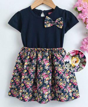 Babyhug Short Sleeves Floral Frock Bow Applique - Navy Blue