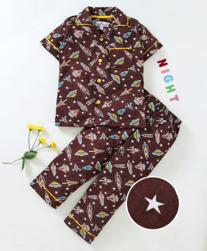 Nite Flite Rocket Printed Half Sleeves Night Suit - Brown