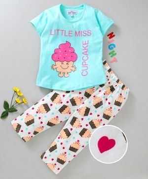 Nite Flite Cupcakes Printed Half Sleeves Night Suit - Sea Green & White