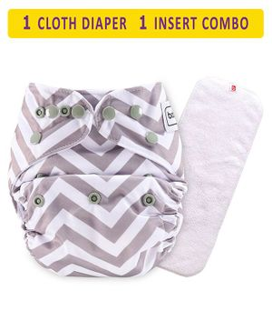 Babyhug Free Size Reusable Chevron Cloth Diaper With Insert - Grey White