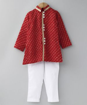 Cute Couture Mothra Doriya Full Sleeves Kurta & Pajama Set - Red & White
