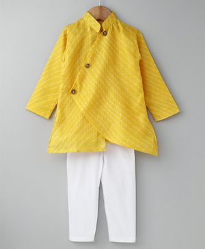 Cute Couture Printed Full Sleeves Kurta & Pyjama Set -Yellow & White
