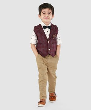 Dapper Dudes 3 Piece Full Sleeves Checked Party Suit With Broach & Bow  - Maroon