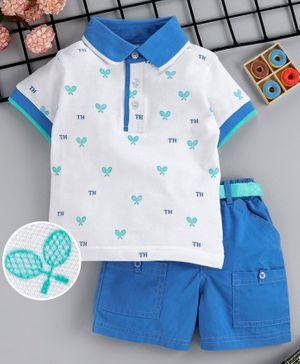 ToffyHouse Half Sleeves Racket Print T-Shirt And Shorts Set- Blue White