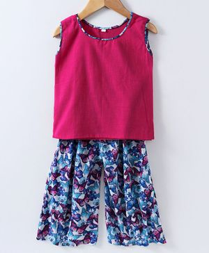 Kidcetra Sleeveless Top With Butterfly Print Pallazo - Pink & Blue