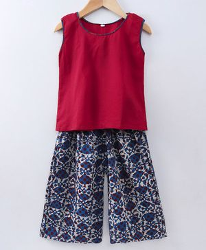 Kidcetra Sleeveless Solid Top With Printed Pallazo - Red & Blue