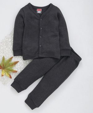 Babyhug Full Sleeves Thermal Vest & Full Length Bottoms - Dark Grey