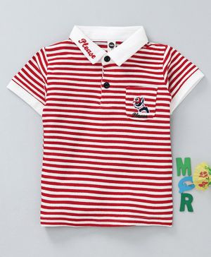 Lekeer Kids Half Sleeves Striped Tee - Red