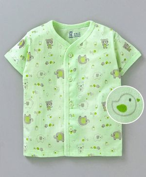 Pink Rabbit Half Sleeves Vest Teddy Bear Print - Green
