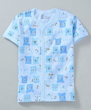 Pink Rabbit Half Sleeves Vest Bear Print - Blue