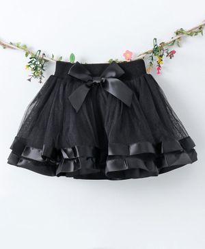 Lekeer Kids Elasticated Waist Party Wear Skirt - Black