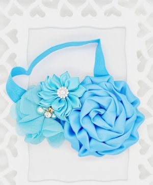 ELSANOA Flower Headband With Pearl & Crystal Detailing - Blue