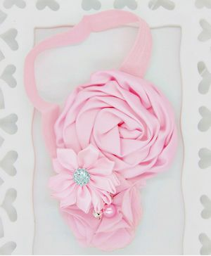 ELSANOA Flower Headband With Pearl & Crystal Detailing - Light Pink