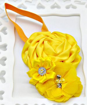 ELSANOA Flower Headband With Pearl & Crystal Detailing - Yellow