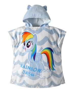 Pre Order - Awabox Sleeveless Pony Print Hooded Bathrobe - Light Blue
