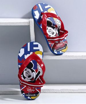 Cute Walk by Babyhug Flip Flops Mickey Mouse Print - Blue Red