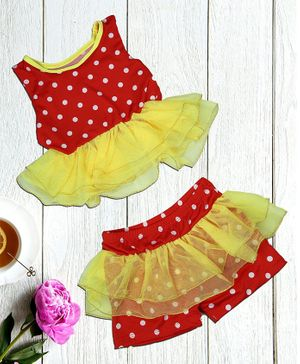 Passion Petals Sleeveless Swimwear Dotted Print - Red Yellow