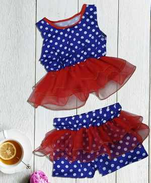 Passion Petals Sleeveless Swimwear Dotted Print - Red Blue