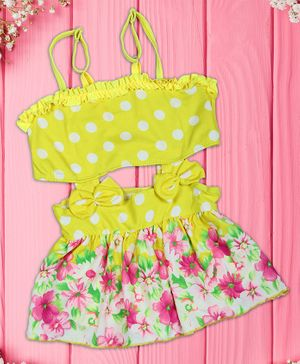 Passion Petals Singlet Polka Dot Frock Style Swim Suit Bow Appliques - Yellow