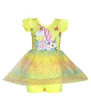 Passion Petals Short Sleeves Frock Style Swimsuit Unicorn Print - Yellow