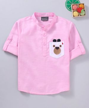 Rikidoos Bear Face Patch Full Sleeves Kurta - Light Pink