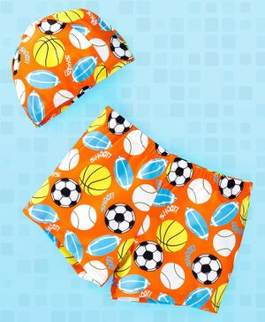 Yellowbee All Over Football Print Swimming Shorts With Cap - Orange