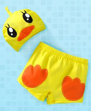 Yellowbee Swimming Shorts With Duck Print Cap - Yellow