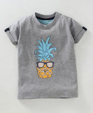 Kid Studio Pineapple Printed Half Sleeves T-Shirt - Grey