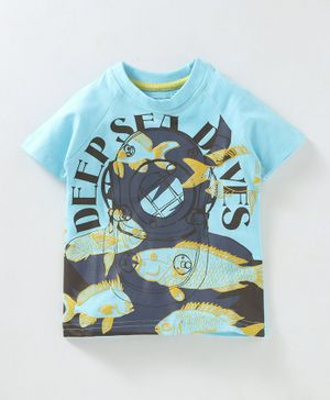 Kid Studio Fish Print Half Sleeves T-Shirt - Blue