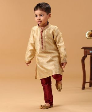 Babyhug Full Sleeves Kurta & Pyjama Set - Beige  & Brown