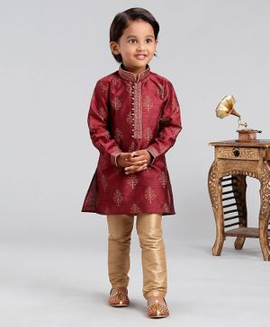 Babyhug Full Sleeves Tree Printed Ethnic Kurta & Pyjama Set - Maroon Golden