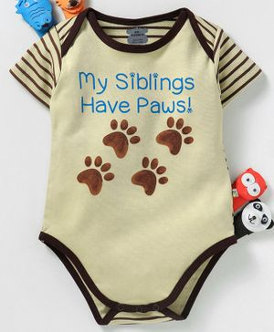 Mini Taurus Half Sleeves Onesie Paw Print - Yellow