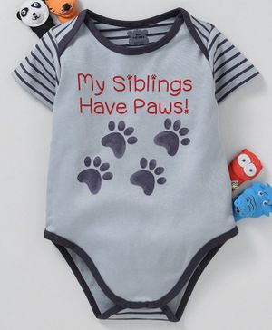 Mini Taurus Half Sleeves Onesie Paw Print - Blue