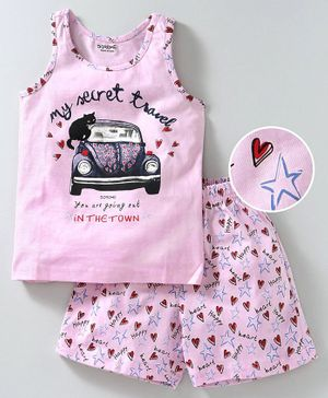 Doreme Sleeveless Night Suit Car Print - Pink