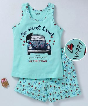 Doreme Sleeveless Night Suit Car Print - Green